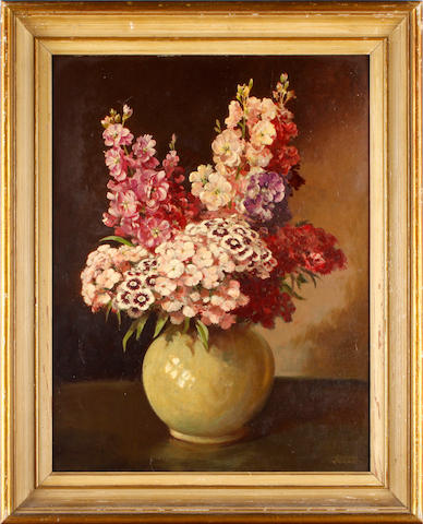Norman Keene (British, 20th Century) Flowers in a vase