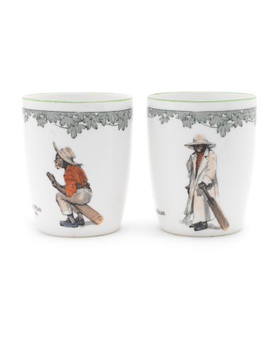 Doulton Burslem Two 'All Black Cricketers' Series Ware Mugs, circa 1915