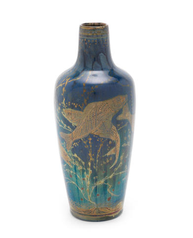 Richard Joyce for Pilkington Royal Lancastrian a Lustre Vase with Fish, circa 1910