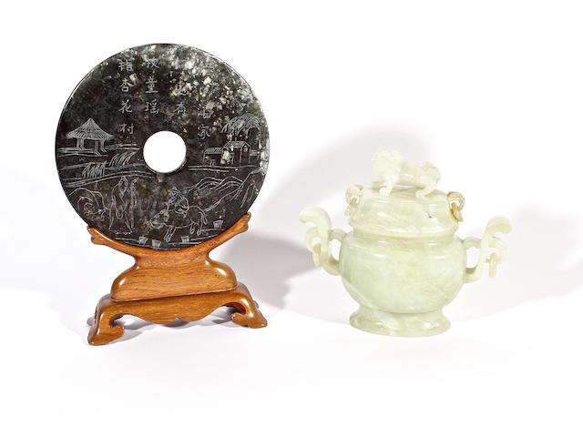 A hardstone censer and cover and a jade bi
