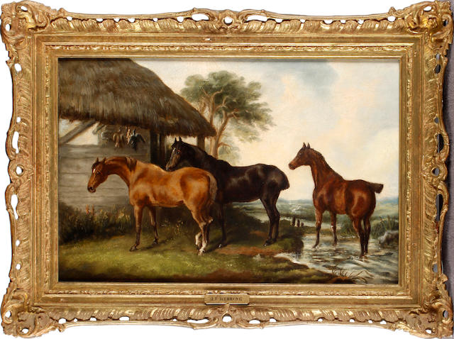 Follower of Herring: Horses in landscapes Pair. oils on canvas (2) 29.5 x 44.5cm