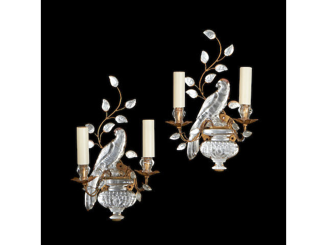 A set of six gilt metal and glass wall lights by Bagues or Paris