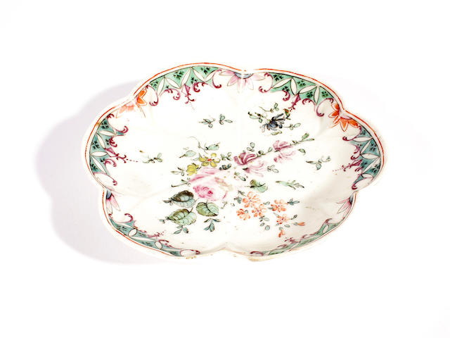 A rare Longton Hall saucer or spoon tray, circa 1755