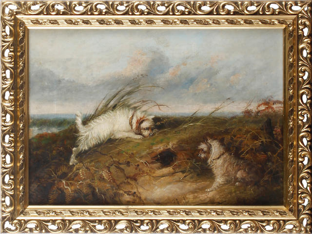 J Langlois (Bristish 19th century)  Terriers ratting and another (a pair)