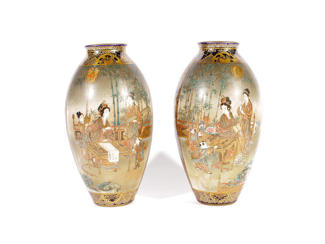 A pair of Japanese Satsuma vases, Meiji period