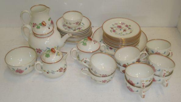 An extensive Royal Worcester Astley pattern tea service, first produced in Dr Wall's period 1751-1783.