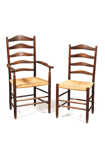 Neville Neal, to a design by Ernest Gimson A Set of Eight 'Gimson' Ash Chairs, circa 1970