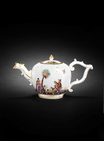 A Meissen teapot and cover, circa 1735