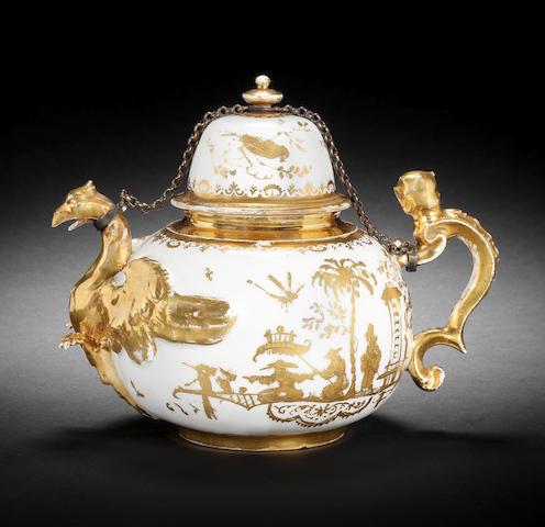 A rare Meissen Hausmaler eagle teapot and cover, circa 1715-25