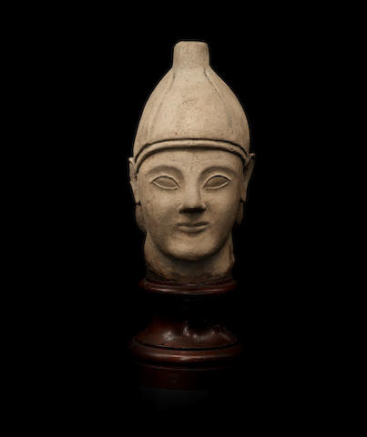 A Cypriot limestone male votive head