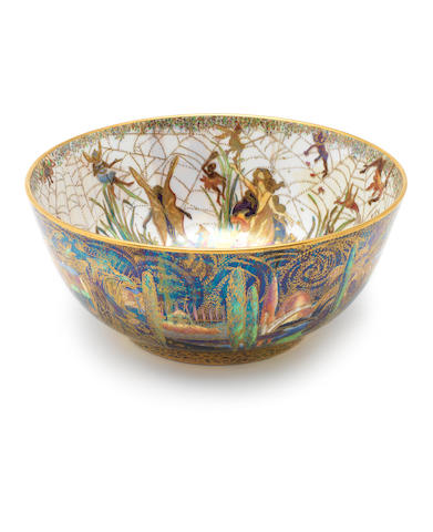 Daisy Makeig-Jones for Wedgwood  'Elves and Bell Branch' a Fairyland Lustre Imperial Bowl, circa 1920