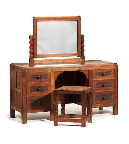 "Robert ""Mouseman"" Thompson A Mirror Back Dressing Table, circa 1940"