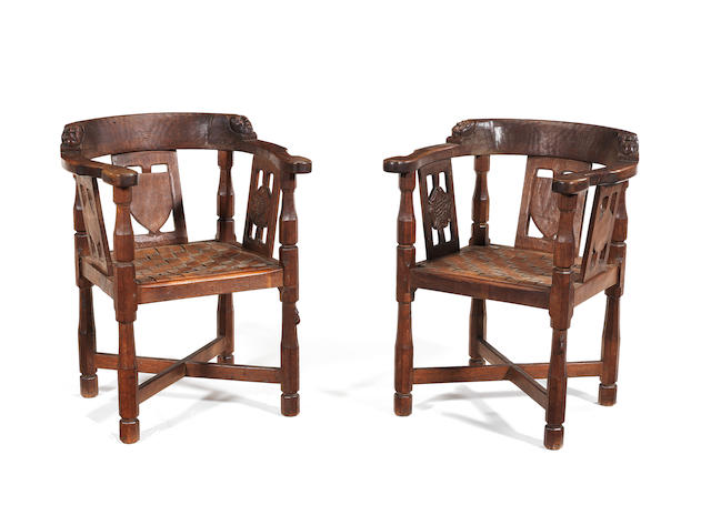 "Robert ""Mouseman"" Thompson A Pair of Monk's Chairs, circa 1940"