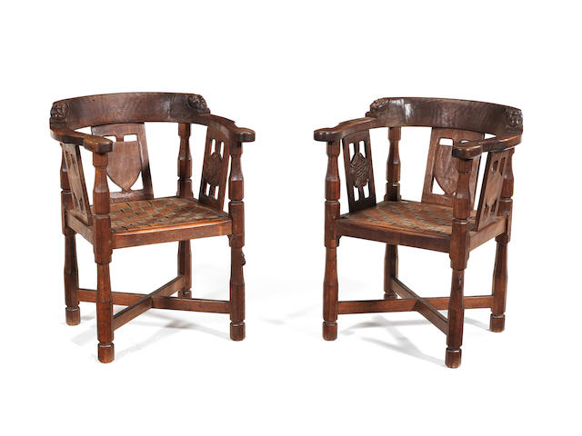 A pair of Mouseman elbow chairs