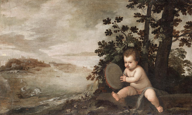 Attributed to Lambert Sustris (Amsterdam 1515-1595) An infant holding a tambourine unframed
