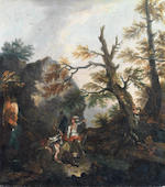 Circle of Salvator Rosa (Arenella 1615-1673 Rome) Landscape with soldiers  (2) unframed