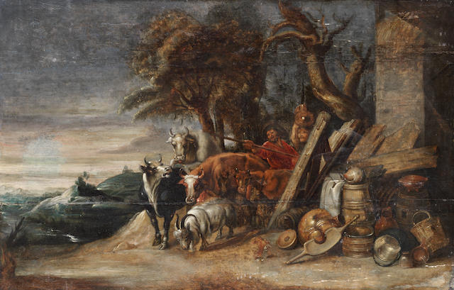 After Sir Peter Paul Rubens, 17th Century Drovers and cattle on a country path, unframed