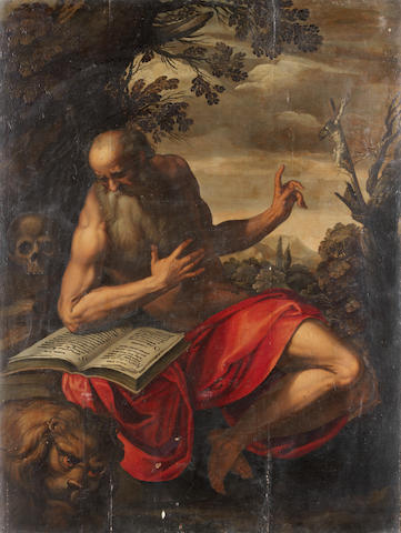 Netherlandish School, circa 1600 St Jerome in the wilderness unframed