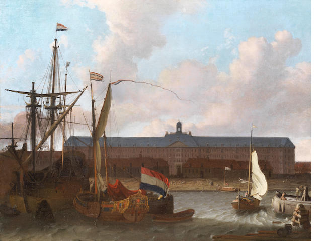 Attributed to Hendrik Rietschoof (Hoorn 1687-1746 Koog) Dutch ships at anchor, before the dock