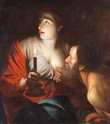 Follower of Gerrit van Honthorst (Utrecht 1590-1656) Roman Charity unframed