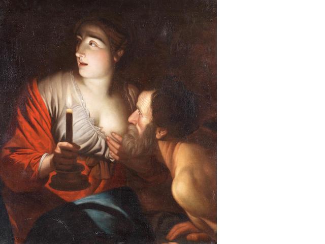 Follower of Gerrit van Honthorst (Utrecht 1590-1656) Roman Charity unframed