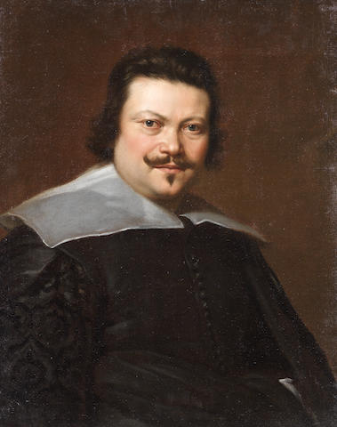Genoese School, 17th Century Portrait of a man, half-length, in a black coat and white collar unframed