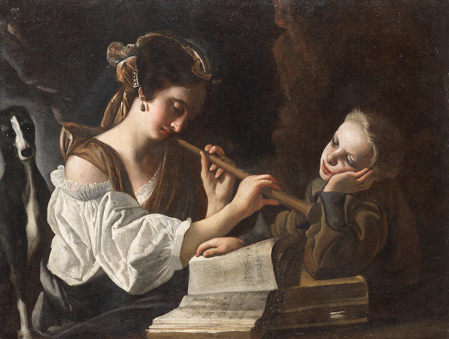 Circle of Giovanni Domenico Lombardi (Lucca 1682-1752) A woman playing a flute, with a young boy and a dog unframed
