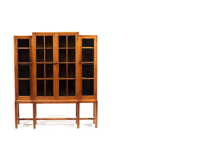 Heals bookcase with glazed panel doors