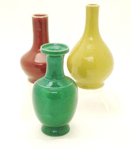 A small sang de boeuf porcelain vase