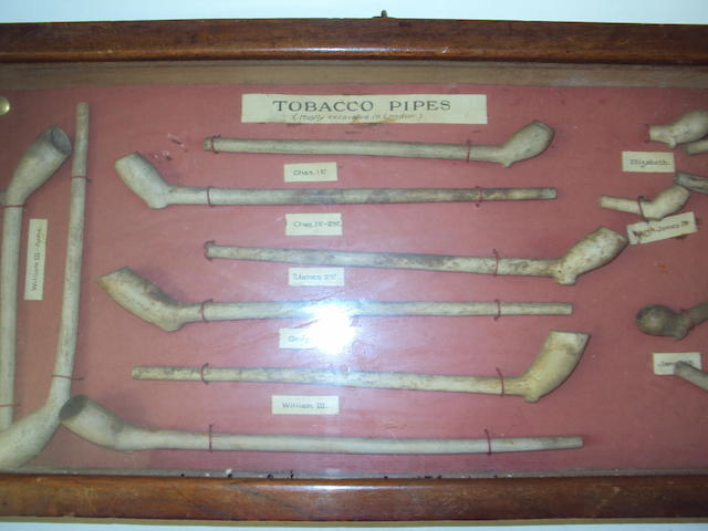 A varied collection of clay pipes