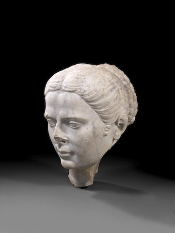 A large Roman marble female head