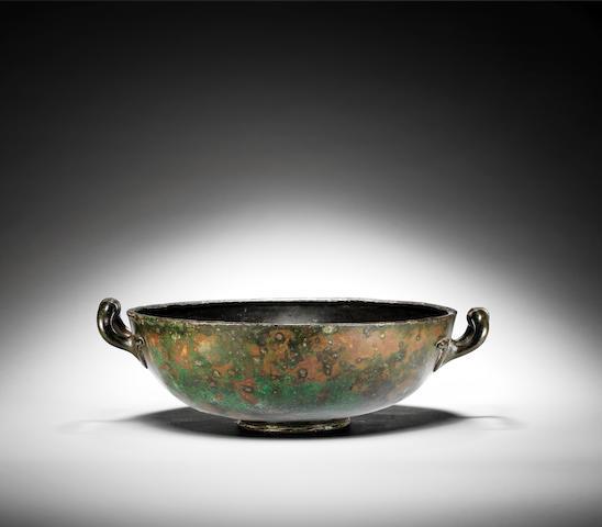 A large Roman bronze bowl