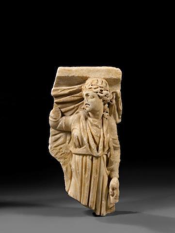 A Roman marble sarcophagus fragment