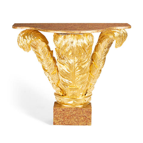 An early 20th century and later giltwood console table in the George III style