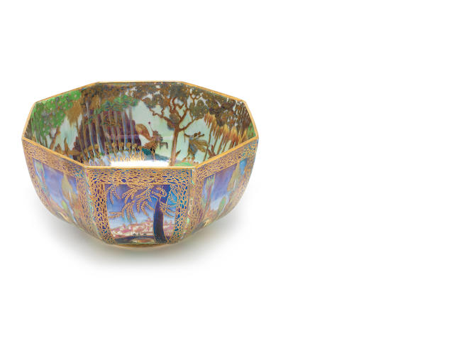 Daisy Makeig-Jones for Wedgwood 'Woodland Elves VIII - Boxing Match' a Large Fairyland Lustre Octagonal Bowl, circa 1920
