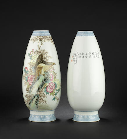 A pair of famille rose, olive-shaped vases Han Qing red-enamelled mark
