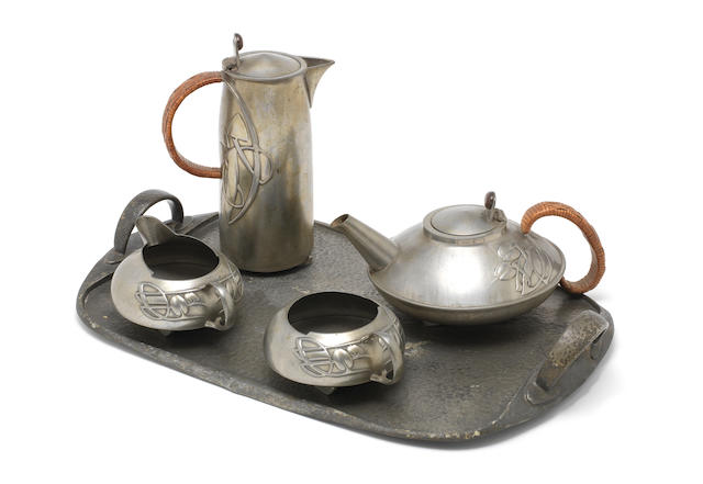 Archibald Knox for Liberty & Co a Five Piece 'Tudric' Pewter Teaset, circa 1905