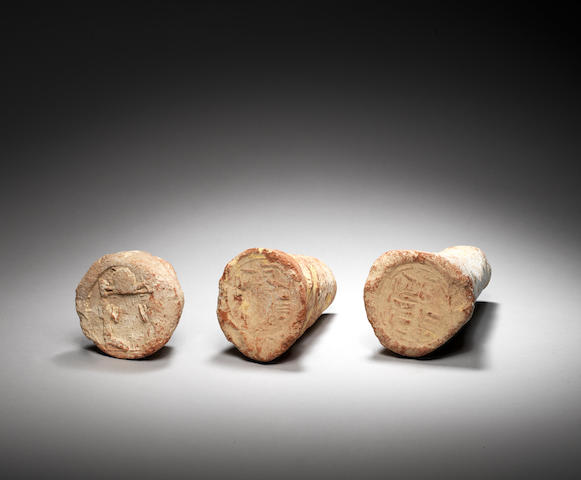 Three Egyptian terracotta funerary cones 3
