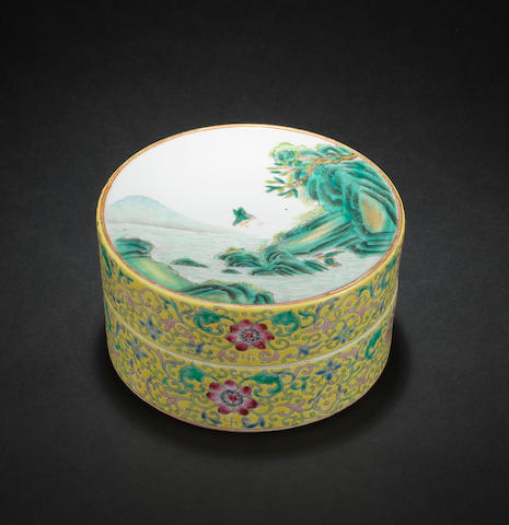 A famille rose, circular box and cover Qianlong six-character mark