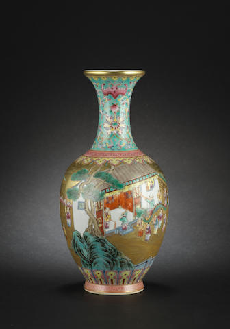 A famille rose, 'Hundred Boy', baluster vase Qianlong six-character mark
