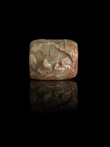 A pale green jade carving of three sheep with an Imperial inscription The jade Ming dynasty, with inscription from the Qianlong period