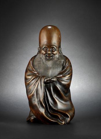 A bronze, or other metal, figure of Fukurokuju