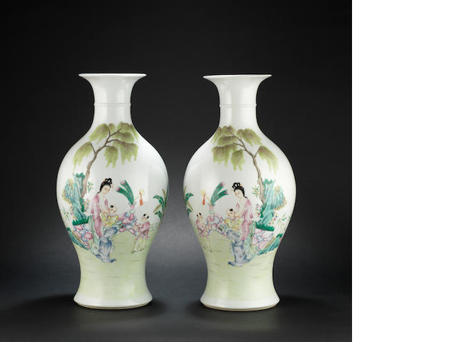 A pair of famille rose baluster vases Four-character marks
