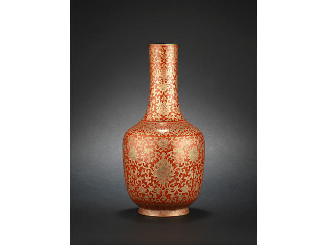 A scarlet-red ground vase Jiaqing six-character mark