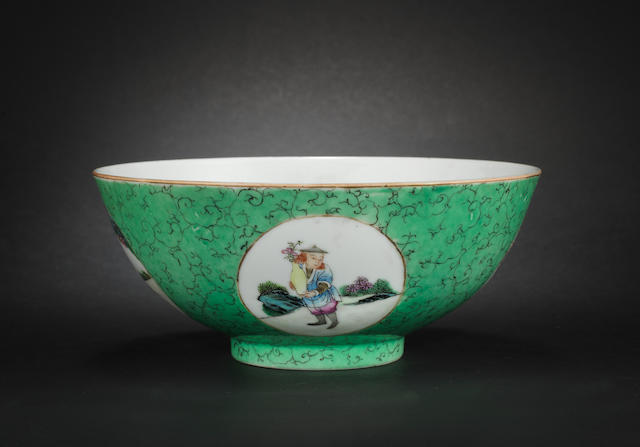A green ground, famille rose bowl  Qianlong six-character mark