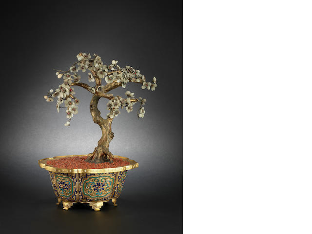 A gilded metal and enamel jardiniere 18th or 19th century