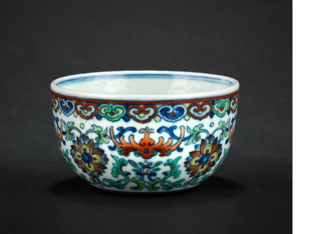 A doucai cup Qianlong six-character mark