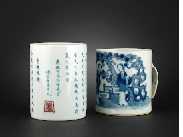 Two blue and white wares Both with four-character marks