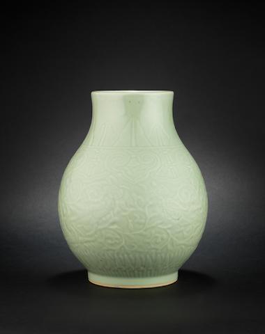 A celadon glazed hu  Yongzheng six-character mark