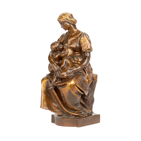 Paul Dubois, French (1829-1905)  A bronze and parcel gilt figural group of La Charité cast by Barbedienne
